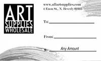 Art Supplies Wholesale Gift Certificates...